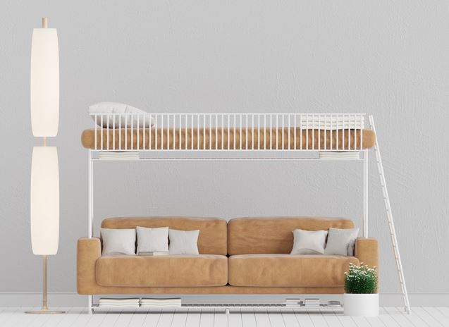 sofa and bed for space